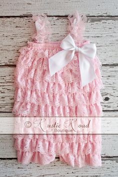Pink Romper  CUSTOMIZE BOW COLORS  Lace by RusticRoadBoutique