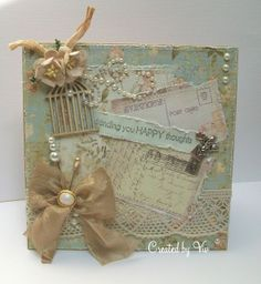 Vintage style shabby chic card using Prima botanicals paper