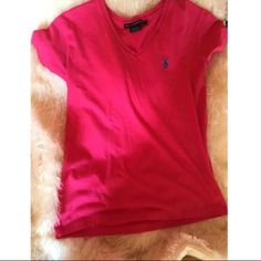 Women's red V neck polo Has navy blue jockey. Great condition! 100% cotton Polo by Ralph Lauren Tops
