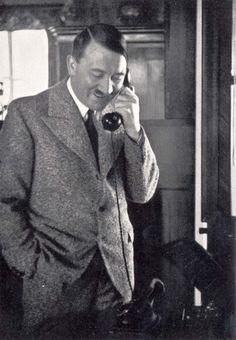 Germany, Hitler thanking Gauleiter Burchel by phone. Hitler thanking Gauleiter Burchel for the victory of the Saar region.