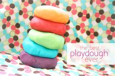 """the best playdough ever  I just din't used """"Kool-Aid"""" since we never drink that & just use a few drops of food dye."""