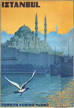 Original Vintage 1920s ISTANBUL Travel Poster TURKEY