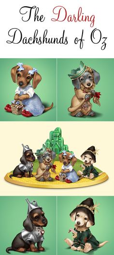 The Emerald City gets some doggone adorable visitors in this Wizard of Oz dachshund figurine collection!