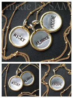 Personalized mom , sisters ,best friend , anniversary necklace - 3 Gold Rim discs (name , date , initial ) -14k gold filled beaded chain  $99.80