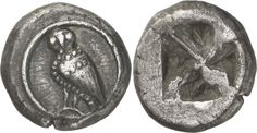 """G927 An Excessively Rare, Exceptional, and Highly Important Greek Silver Didrachm of Athens (Attica), of the Wappenmunzen Series, the Precursor to the Famous """"Owls"""" of Athens   by Ancient Art"""