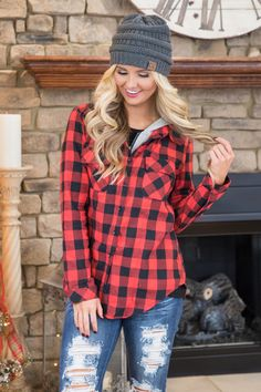Already At Home Hooded Plaid Blouse Red - The Pink Lily