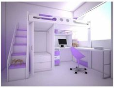 Loft Beds For Small Rooms, Small Room Design Bedroom, Bed For Girls Room, Cute Bedroom Decor, Kids Bedroom Designs, Bedroom Decor For Teen Girls, Room Ideas Bedroom, Home Room Design, Dream Rooms