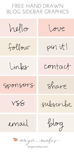 These Cute, Hand Drawn, Free Blog Sidebar Graphics are Just Perfect to Bling Your Blog's Sidebar in No Time. Hand Drawn Text Will Make Your Sidebar Shine!