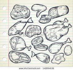 set of meat in doodle style by mhatzapa, via ShutterStock