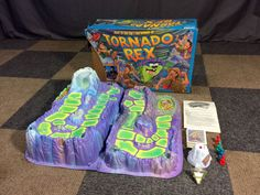 NEAR COMPLETE/PART LOT VINTAGE 1991 PARKER BROTHER TORNADO REX TOP 3D BOARD GAME #ParkerBrothers