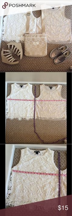 Bundle of 2 Forever 21 Tops Bundle of 2 Pre-Loved Forever 21 Sleeveless Tops 1 White with Lace layer and other Cream with embroidery in mesh layer. Size is Small but could fit both Small and Medium. These are Pre-Loved Items with signs of wear such as loose threads, fuzzy fabric, stains, among others due to use. I have posted pictures of actual condition of the items. Forever 21 Tops Tank Tops