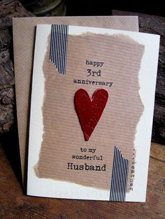 3rd Wedding Anniversary Card Leather Traditional Gift Handmade Keepsake Wife Husband Third Map Recycled Upcycled