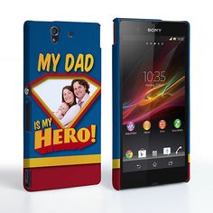 Caseflex My Dad, My Hero Customised Photo Sony Xperia Z Case – Blue | Mobile Madhouse