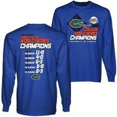 Florida Gators 2014 NCAA Women's Softball College World Series Champions Score Long Sleeve T-Shirt - Royal Blue