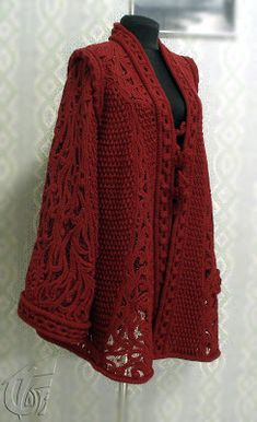 Technical Process of Irish Crocheted Coat.crochet knit unlimited: More pictures of the CoatThis Pin was discovered by ТамDesigner shared her Crochet Shirt, Crochet Jacket, Crochet Cardigan, Crochet Scarves, Crochet Clothes, Crochet Vests, Irish Crochet Patterns, Crochet Motifs, Freeform Crochet
