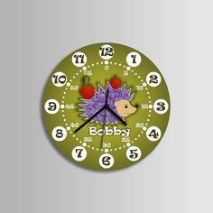 Hedgehog clock - kids room  -  extra quiet clockwork - girls room - boys room - coloured - hand made