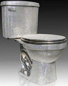 """The Swarovski crystal toilet Named """"Isis"""", this bathroom furnishing is the ultimate of """"bling"""". The Isis collection from Wright is a chrome plated porcelain base, and comes either partially or wholly handset with crystals from Swarovski. Luxor, Cool Toilets, Casa Clean, Stair Decor, Bathroom Humor, Bathroom Ideas, Bathrooms Decor, Modern Bathroom, V60 Coffee"""