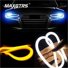 2x 45cm 60cm 85cm Daytime Running Light Universial Flexible Soft Tube Guide Car LED Strip White DRL and Yellow Turn Signal Light