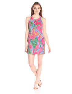 Lilly Pulitzer Women's Grayes Shift, Multi So A Peeling, 14. Sleeveless halter-neck dress featuring princess seams and T-back with exposed zipper.
