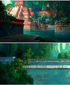 Road to El Dorado concept art by Scott Wills! I think the movie's not so great but the animation is killer Environment Concept Art, Environment Design, Animation Background, Art Background, Fantasy Landscape, Landscape Art, Fantasy World, Fantasy Art, Illustrations