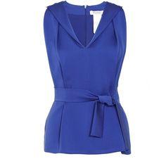 MaxMara Aster Blouse ($230) ❤ liked on Polyvore featuring tops, blouses, shirts, blusas, blue, vneck shirts, draped blouse, blue silk shirt, v-neck tops и shirts & blouses