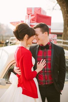 Newlywed Christmas Shoot ⋆ Ruffled I wonder if Mr. Incredible would wear a red plaid shirt. Maybe he would wear a green plaid. Plaid Wedding, Casual Wedding, Wedding Groom, Wedding Bells, Gold Wedding, Winter Wedding Attire, Winter Bride, Winter Weddings, Tartan Christmas