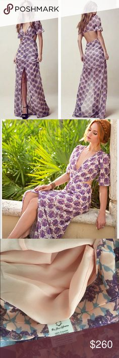 For love and lemons xs Sold out For Love and Lemons Clover Maxi Dress.  Size XS - Lilac Print-partially lined -slit in the front - Back Cutouts                                         New without tags, Never worn! Just try it before mirror. My husband doesn't allow me to wear this one because he thinks it reveal too much for me.  No trade plz For Love and Lemons Dresses Maxi