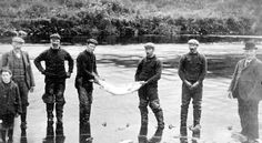 Old photograph of salmon fishermen on the River Tay near Perth, Perthshire, Scotland