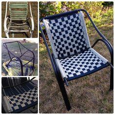 Macrame lawn chair.                                                                                                                                                      More Chair Redo, Chair Makeover, Diy Chair, Furniture Makeover, Lawn Furniture, Furniture Repair, Handmade Furniture, Furniture Layout, Chair Repair