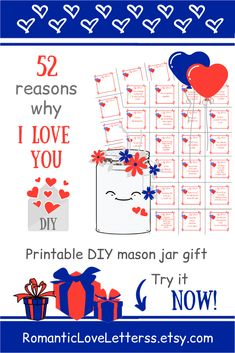 Romantic love notes for boyfriend - This PRINTABLE DIY kit of 52 Reasons Why I Love You is excellent romantic gift for him (sentimental - Love Notes For Boyfriend, Things To Do With Your Boyfriend, Love Notes For Him, Creative Gifts For Boyfriend, Boyfriend Gifts, Sentimental Gifts For Men, Thoughtful Gifts For Her, Romantic Gifts For Him, Anniversary Gifts For Parents