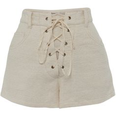 All That Remains Jane High Waist Shorts (3,385 MXN) ❤ liked on Polyvore featuring shorts, bottoms, neutral, highwaist shorts, lace up shorts, high-rise shorts, high rise shorts and high-waisted shorts