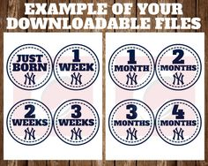 "With this instant download listing, you will receive a set of New York Yankees milestone stickers to track the first year with your new bundle of joy, including a first month set with a sticker for ""Just Born"" and the first three weeks along with the first 12 months.  You will receive a zip file with four PDF files with four stickers per page with each sticker measuring at four inches round. There will be nothing physical shipped to your mailing address.  You will receive a link to download…"