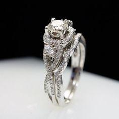 $1900 Vintage Style Diamond Engagement Ring & Wedding by JoyGlowJewelry