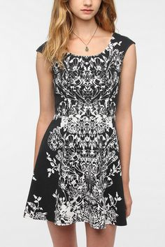 Pins and Needles Ponte Knit Mirrored Floral Dress