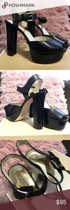 Michael Kors High Heels Black Leather Sexy and classy combine with these platform heels from Michael Michael Kors. Featuring an open toe, stacked platform and heel and a buckle closure, pair these shoes with a bodycon dress for a chic, night out look. MICHAEL Michael Kors embodies a chic, casual woman with a busy and trendy lifestyle.  Features: Closure Type: Buckle Heel Height: 5.5 Heel Type: Block Style: Classic Pump Footwear Type :Pumps Apparel Material :Leather Come with Box  Michael…