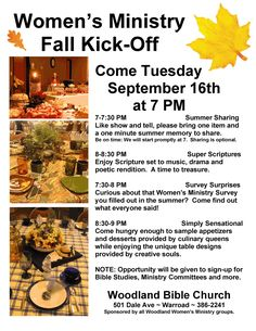 Women's Ministry Event Theme: Fall Kick-Off Full Participation Event