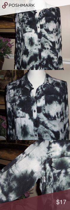 a.n.a black gray shirt Petite L Black and gray button down shirt by  A.N.A 100% rayon. EUC. Very comfy! a.n.a Tops Button Down Shirts