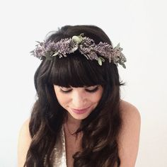 Dried Flower Crown with lavender and eucalyptus. Beautiful for a boho bride. Available on Etsy by Oh Dina!