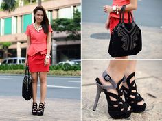 Salmon and Red (BMS) (by Laureen Uy) http://lookbook.nu/look/4156582-Salmon-and-Red-BMS