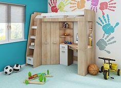 Steens Etagenbett Aufbauanleitung : Steens for kids hochbett mit rolllattenrost und gerader leiter