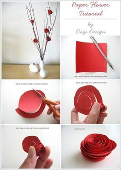 Stick some found twigs in a vase and decorate them with these paper flowers for an inexpensive decoration for your apartment.