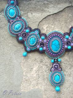 Beadwork. Bead Embroidered Necklace. Turquoise by OPGDesign