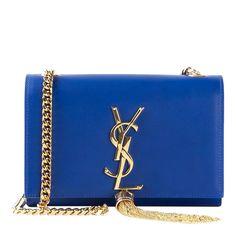 YSL Blue Leather Monogram Tassel Shoulder Bag