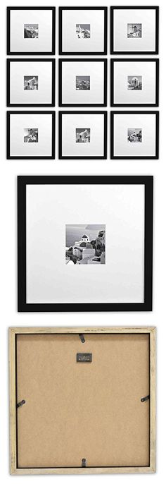 Golden State Art Smartphone Instagram Frames Collection Set Of 9 11x11 Inch Square Photo Wood Frames With White Photo Mat Real Glass For 4x4 Photo Black Instagram Frame Frame Collection Photo