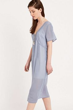 Pins & Needles Pintuck Midi Dress in Blue - Urban Outfitters