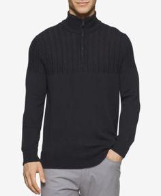 CALVIN KLEIN Calvin Klein Men's Half-Zip Multi-Texture Turtleneck- Macy's Exclusive. #calvinklein #cloth # sweaters