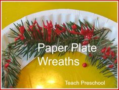 pines, classroom idea, pine needl, plate wreath, holiday season, teach preschool, christma craft, winter wreaths, paper plates