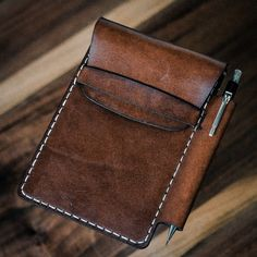 Field Notes leather sleeve with pen slot. Available on Black Friday at www.bexargoods.com-SR