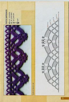 Bordes de punto, Crochet Crochet fotos y esquemas (de Internet) - usuario (Людмила (en su nombre)) en la comunidad Crochet en la categoría de ganchillo para principiantes Crochet Boarders, Crochet Edging Patterns, Crochet Lace Edging, Crochet Diagram, Crochet Chart, Crochet Trim, Crochet Stitches, Knitting Patterns, Crochet Edgings