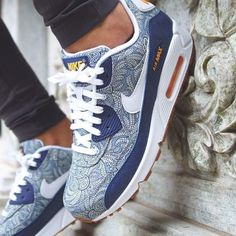 Nike Air Max 90 Liberty Of London Blue - Mrkingjd #nike #sneakers ()